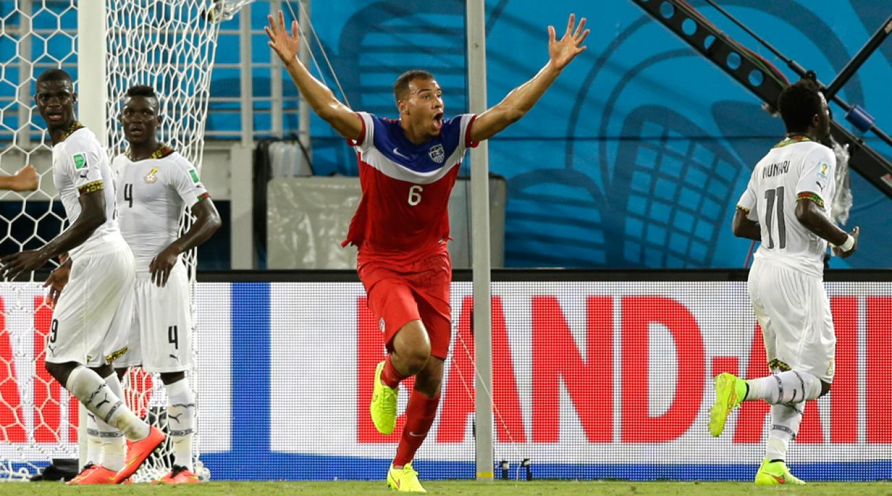 John Brooks reacts in shock and jubilation after heading home the USA's game-winning goal against Ghana Monday night in Natal.