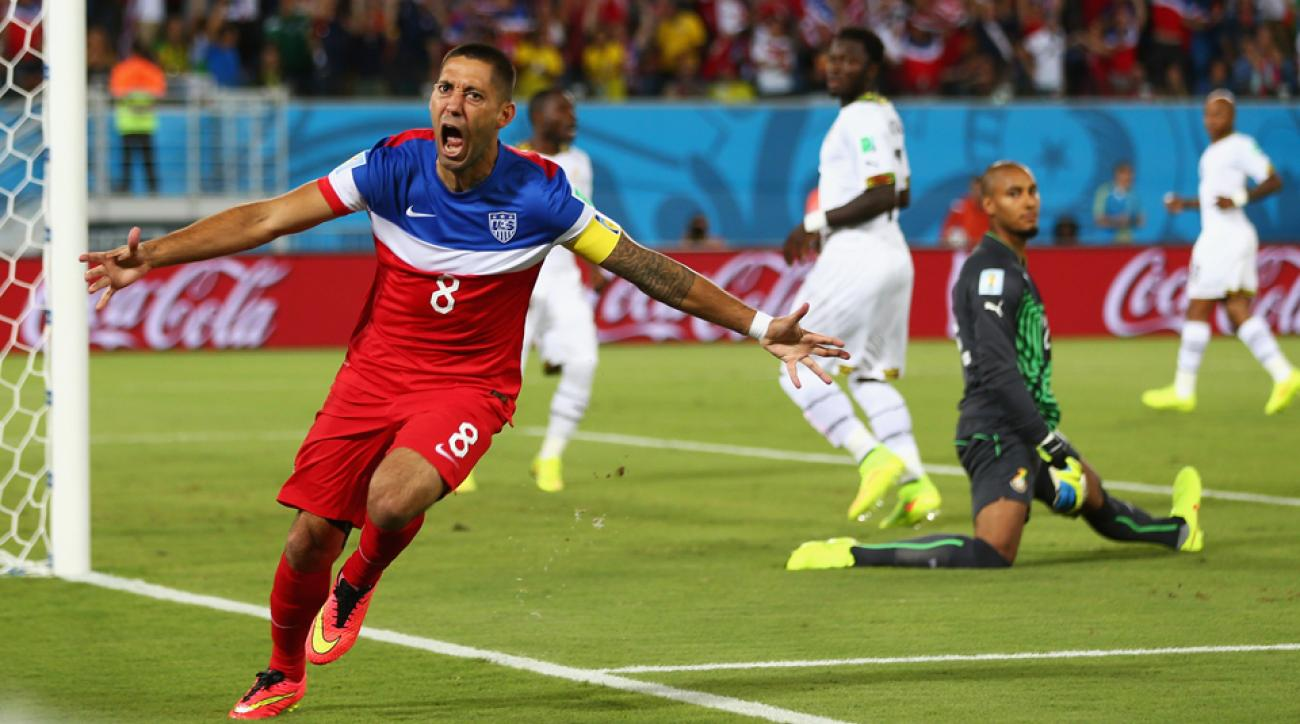 Clint Dempsey celebrates his goal, scored just 29 seconds into the USA's World Cup clash against nemesis Ghana.