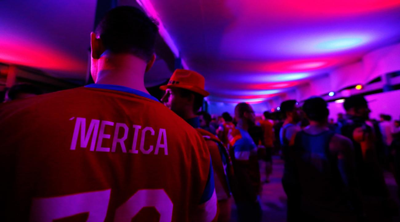 U.S. fans in Natal -- some with creative custom jerseys -- packed a pre-game party in anticipation of Monday's USA-Ghana Group G showdown at Estadio das Dunas.