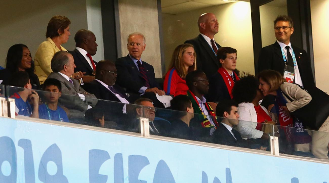 U.S. Vice President Joe Biden, back center, takes in the USA's 2-1 win over Ghana in Natal, Brazil on Monday night.