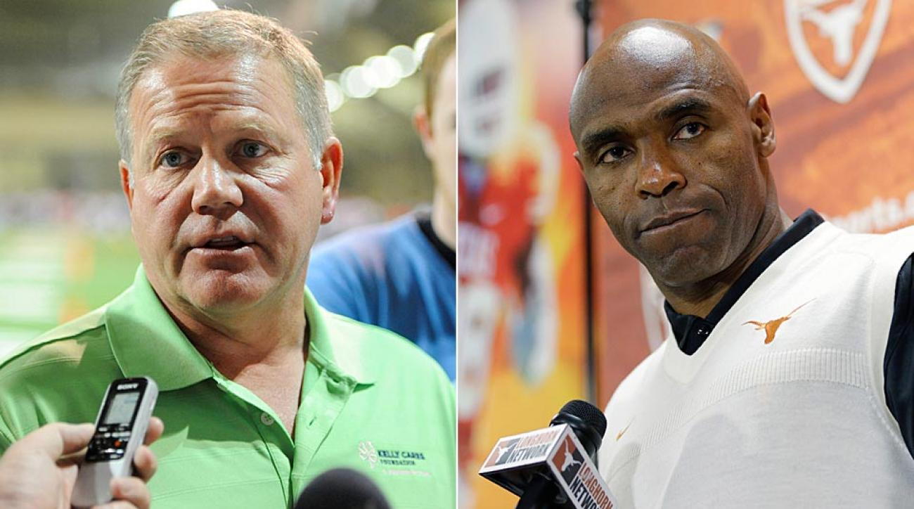 Notre Dame head coach Brian Kelly (left) will likely have to wait until the 2020s to finish the four-game series the Irish have with Charlie Strong and Texas.