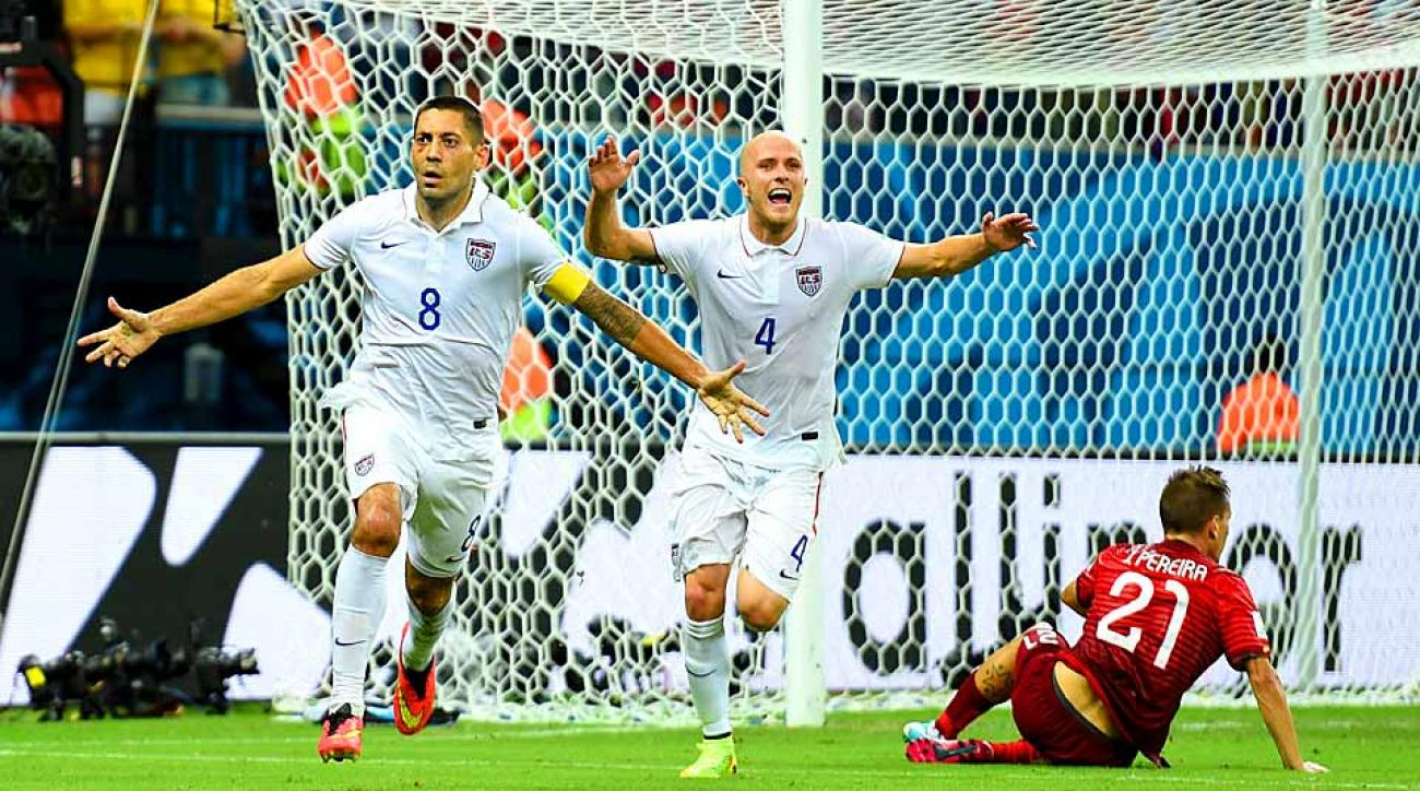 Clint Dempsey (left) and Michael Bradley celebrate Dempsey's goal vs. Portugal that at the time put the Americans in front. They'll need similar magic vs. Germany