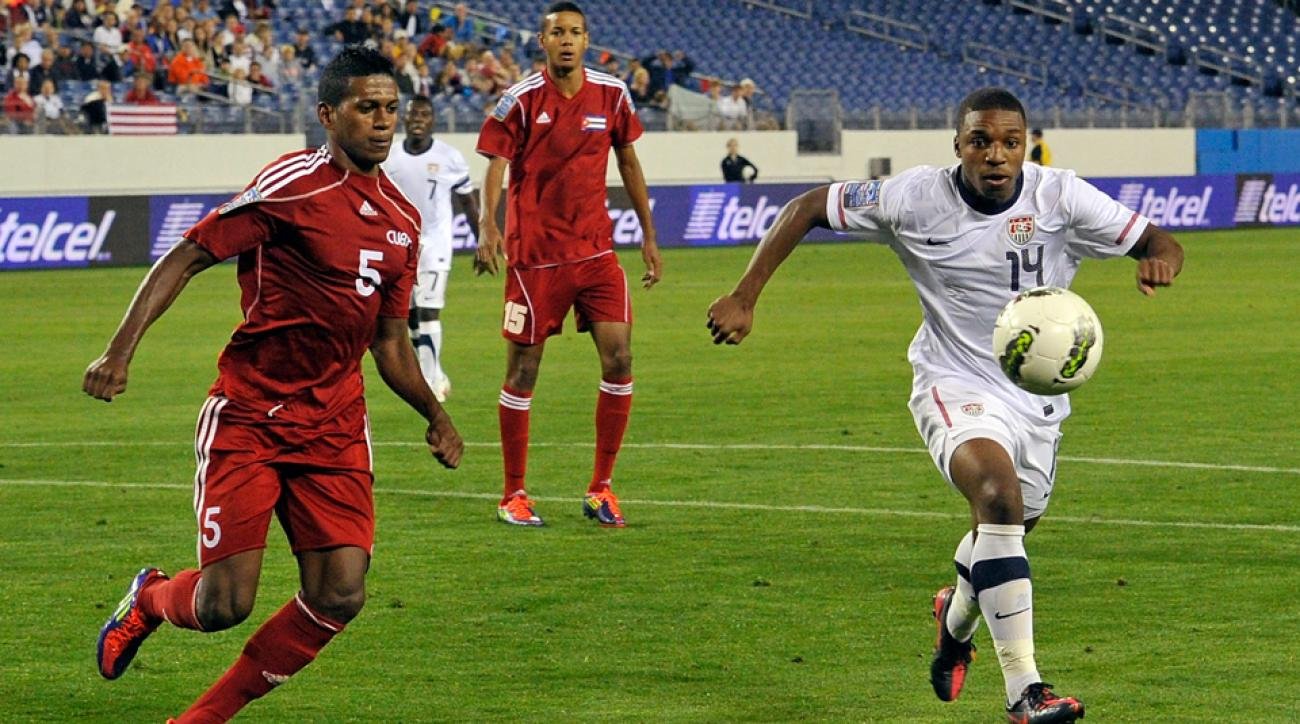 U.S. winger Joe Gyau, shown above right playing for the U.S. Under-23 national team during 2012 Olympic qualifying, has signed with German power Borussia Dortmund.