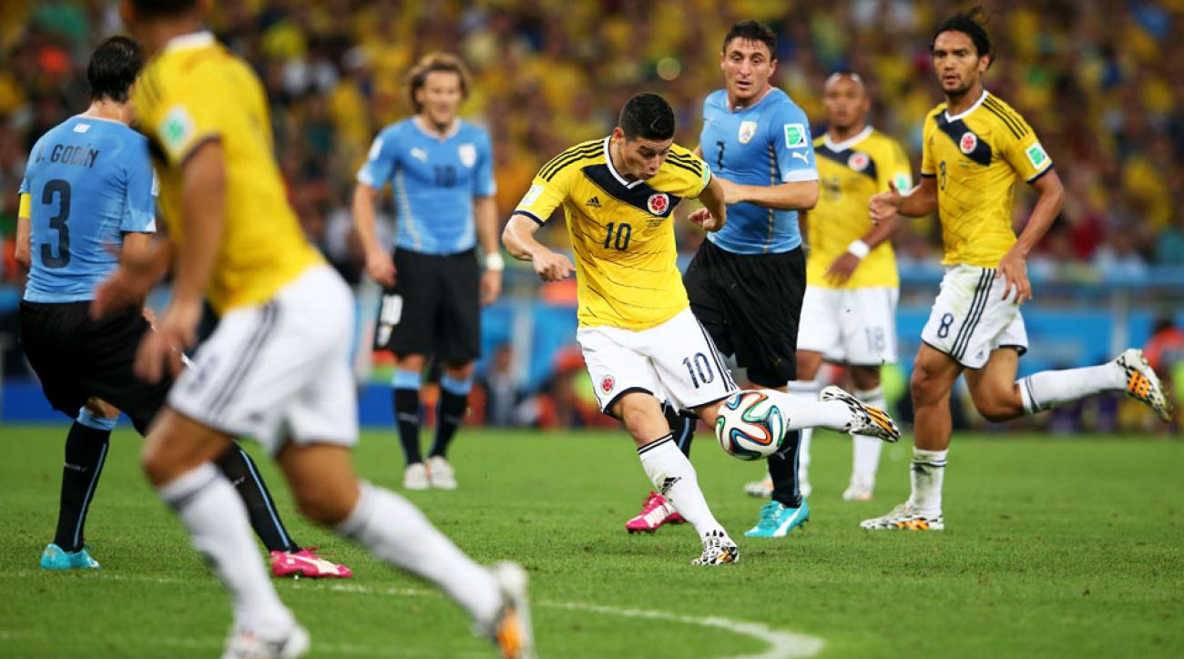 Rodriguez showed some insane coordination to score against Uruguay.