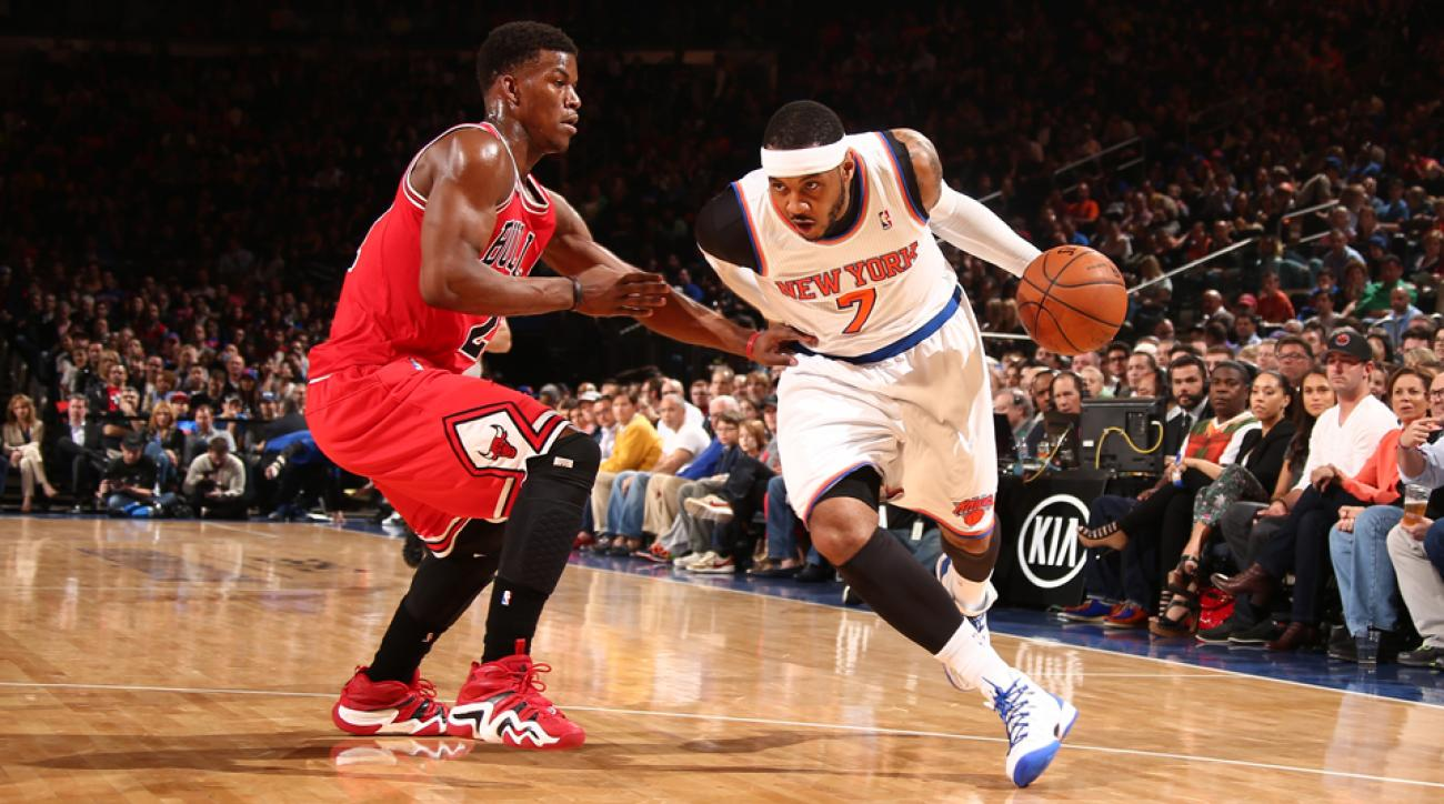 Carmelo Anthony (right) is being courted by a number of teams this summer, including the Bulls.