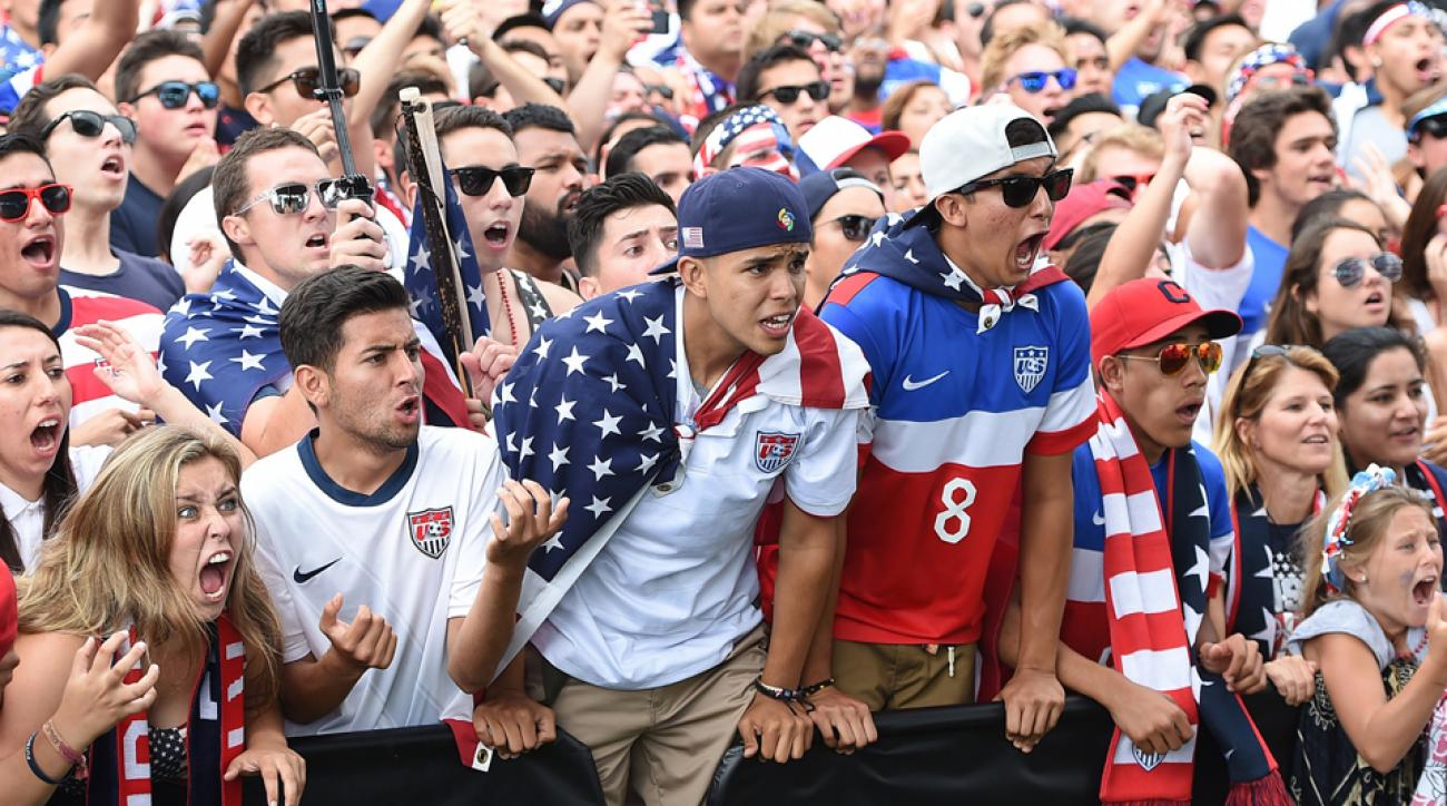 U.S. fans go through the emotional experience of Belgium 2, USA 1 at Redondo Beach's watch party in Veterans Park.
