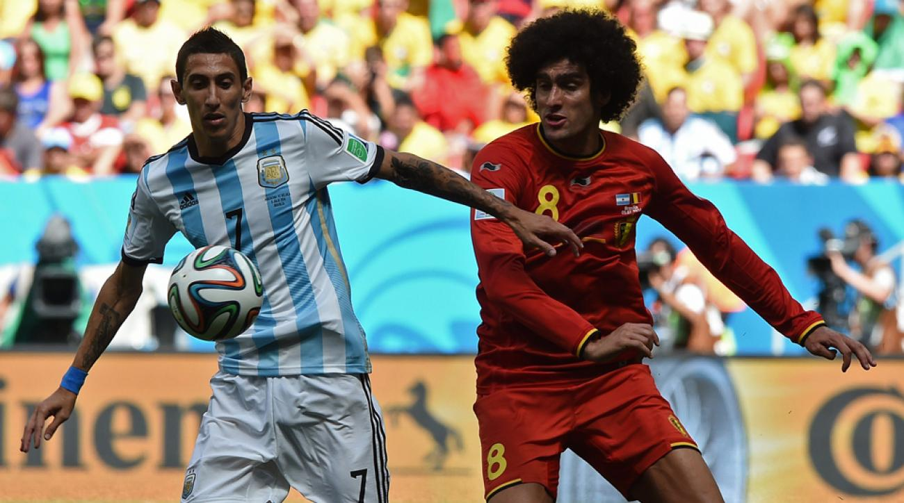 Argentina's Angel di Maria, left, is an injury doubt for the World Cup semifinals.