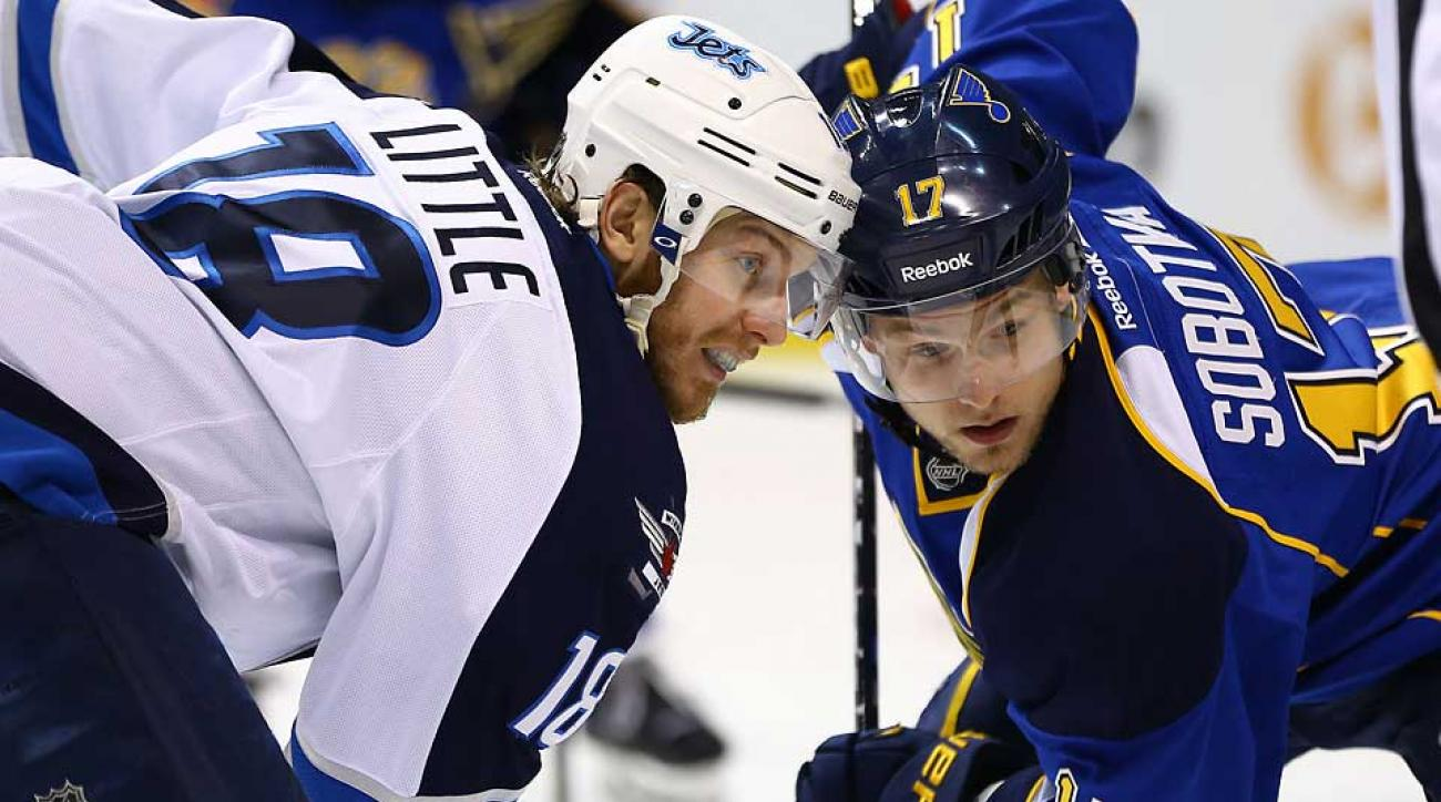 The NHL's top face-off man, Vladimir Sobotka (17) will play in the KHL next season, but he could be back with the Blues in 2015–16.