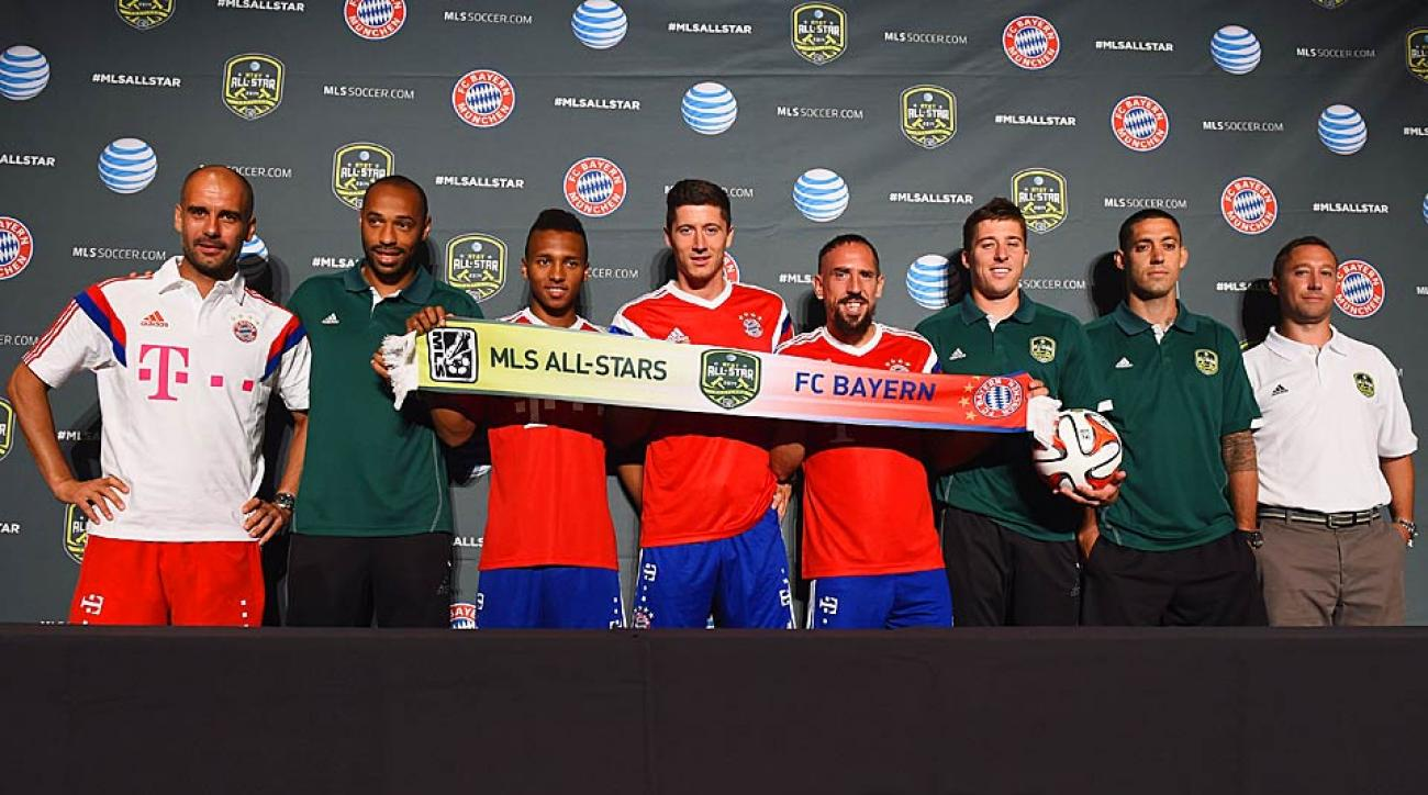 From left to right: Pep Guardiola, Thierry Henry, Julian Green, Robert Lewandowski, Franck Ribery, Matt Besler, Clint Dempsey and Caleb Porter.