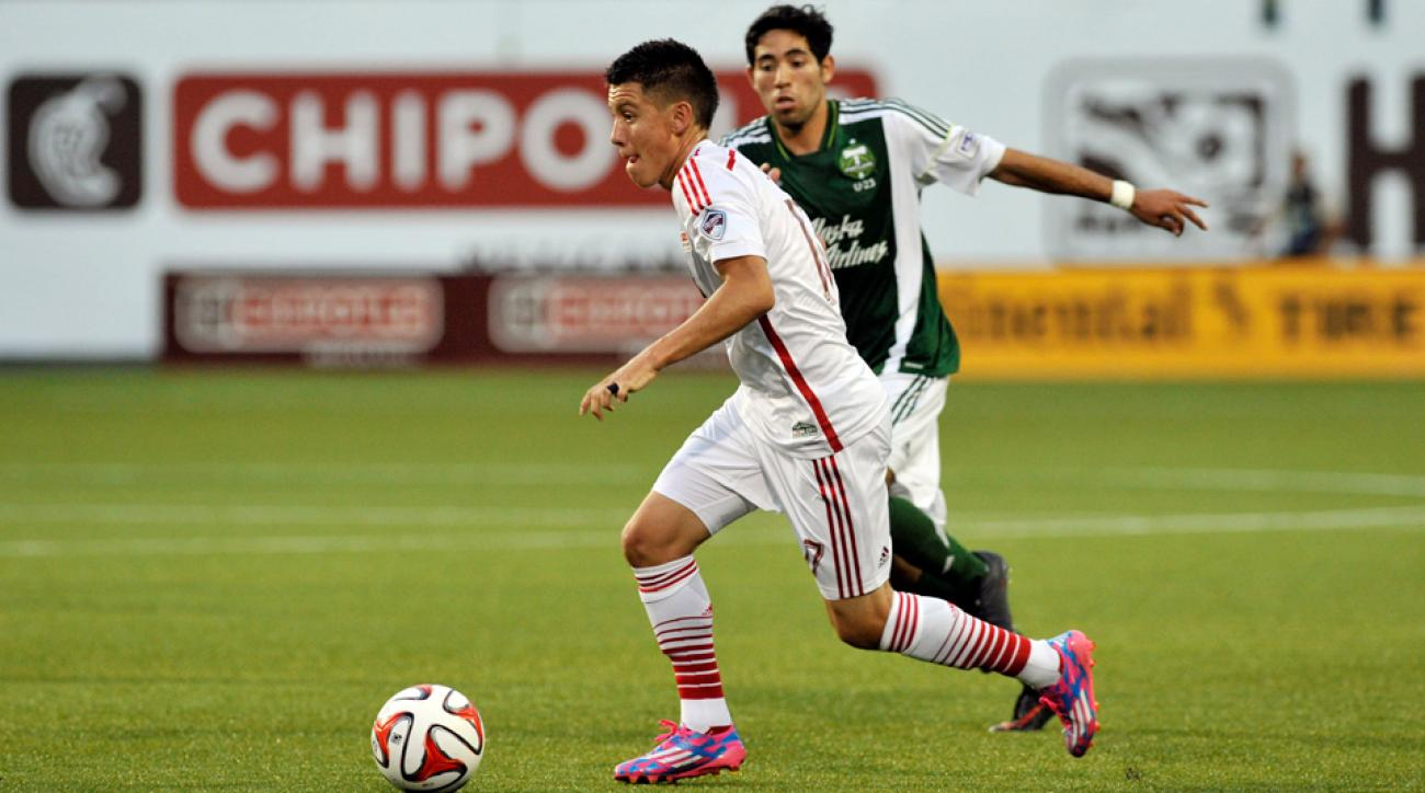 Colorado Rapids homegrown player Dillon Serna dribbles during Monday night's inaugural MLS Homegrown Game as part of All-Star festivities in Portland.