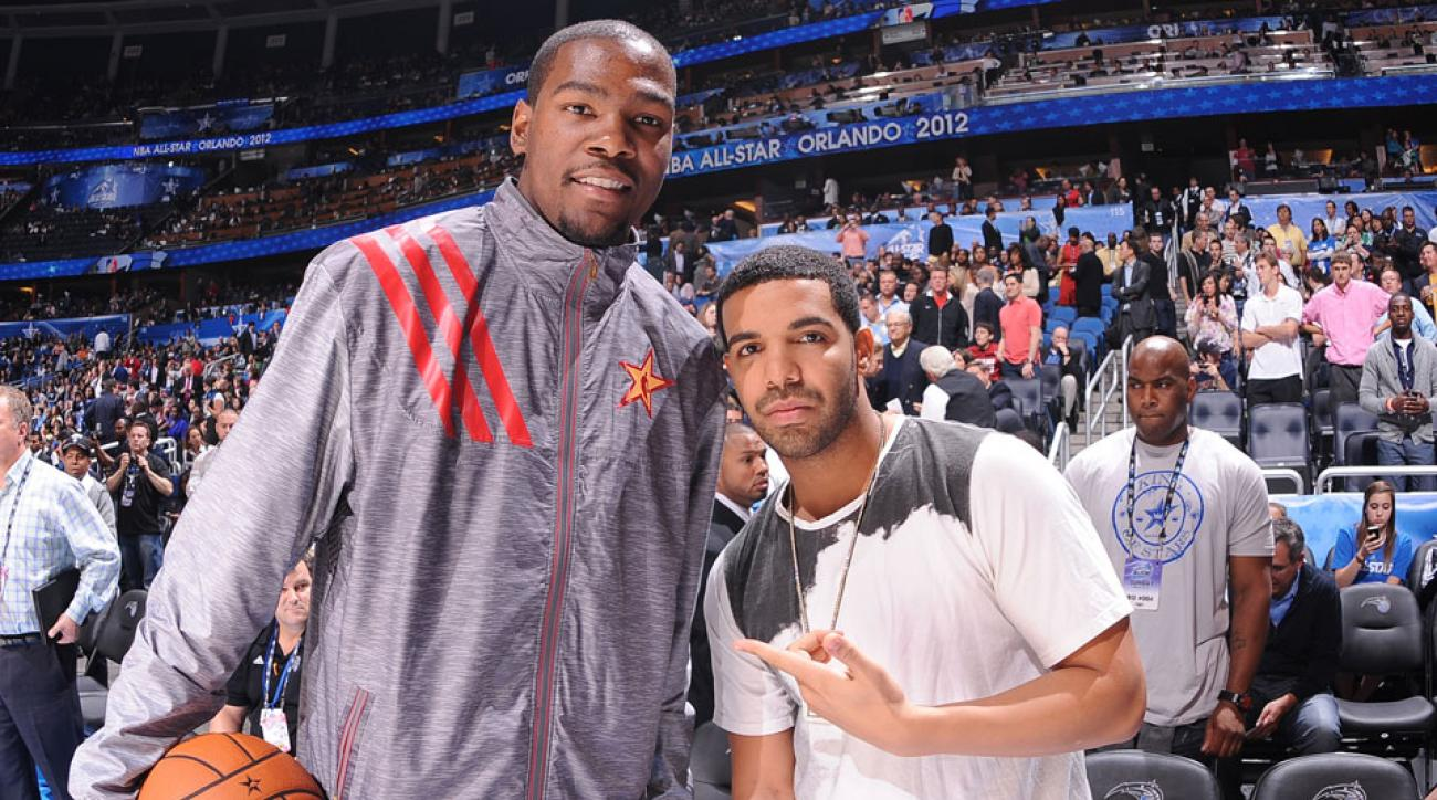 The Raptors were fined after Drake (right) made comments that hinted at recruiting Kevin Durant (left) to Toronto