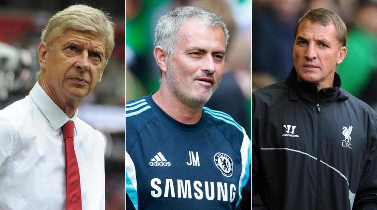 From left, Arsenal's Arsene Wenger, Chelsea's Jose Mourinho and Liverpool's Brendan Rodgers are three managers with realistic expectations of lifting the Premier League trophy.