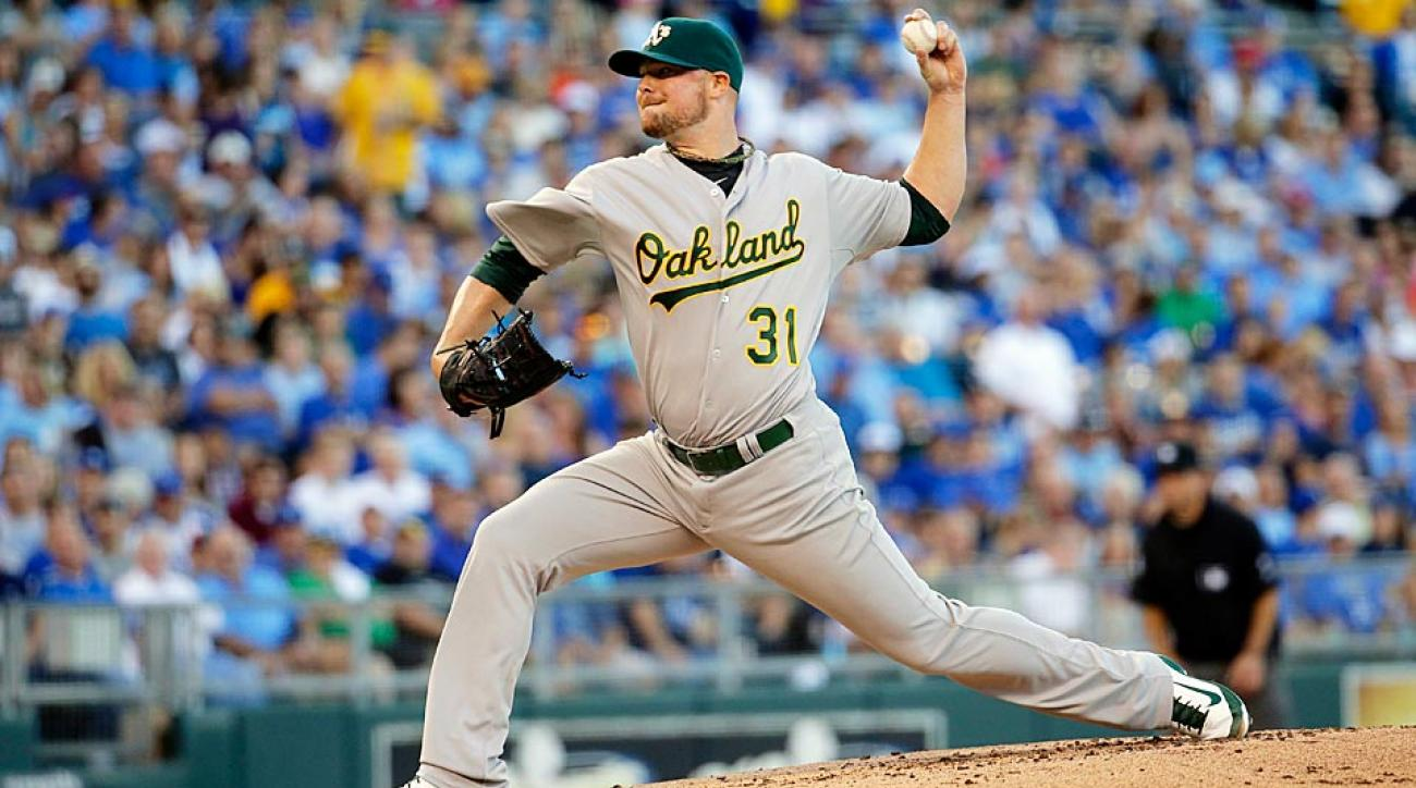 Jon Lester has won each of his first three starts with Oakland and is a good option to record his fourth in as many games Sunday night vs. the Braves.