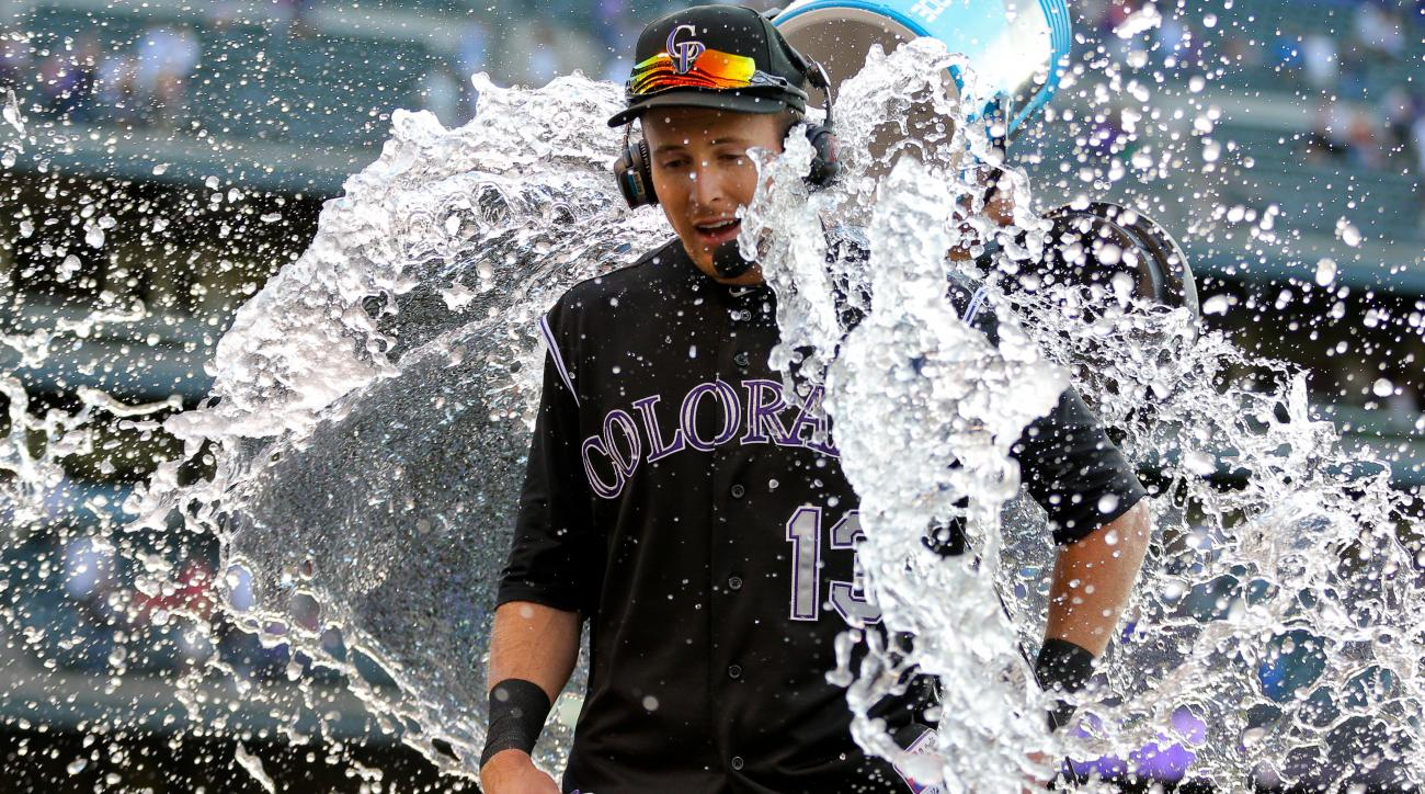 Drew Stubbs got doused with water after hitting a walk-off homer in the first game of the doubleheader.