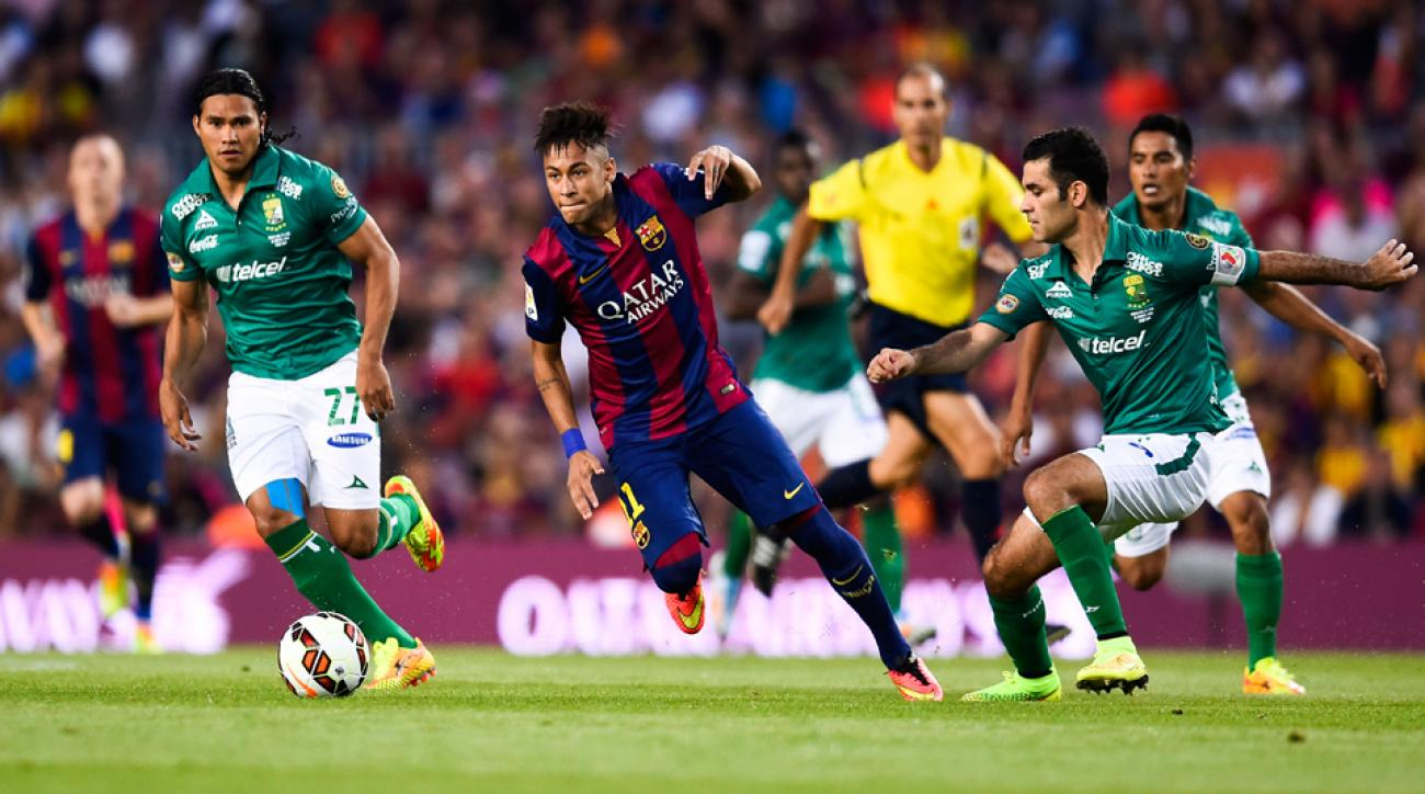 Neymar, center, returned to action for Barcelona against Leon in Monday's friendly at Camp Nou.