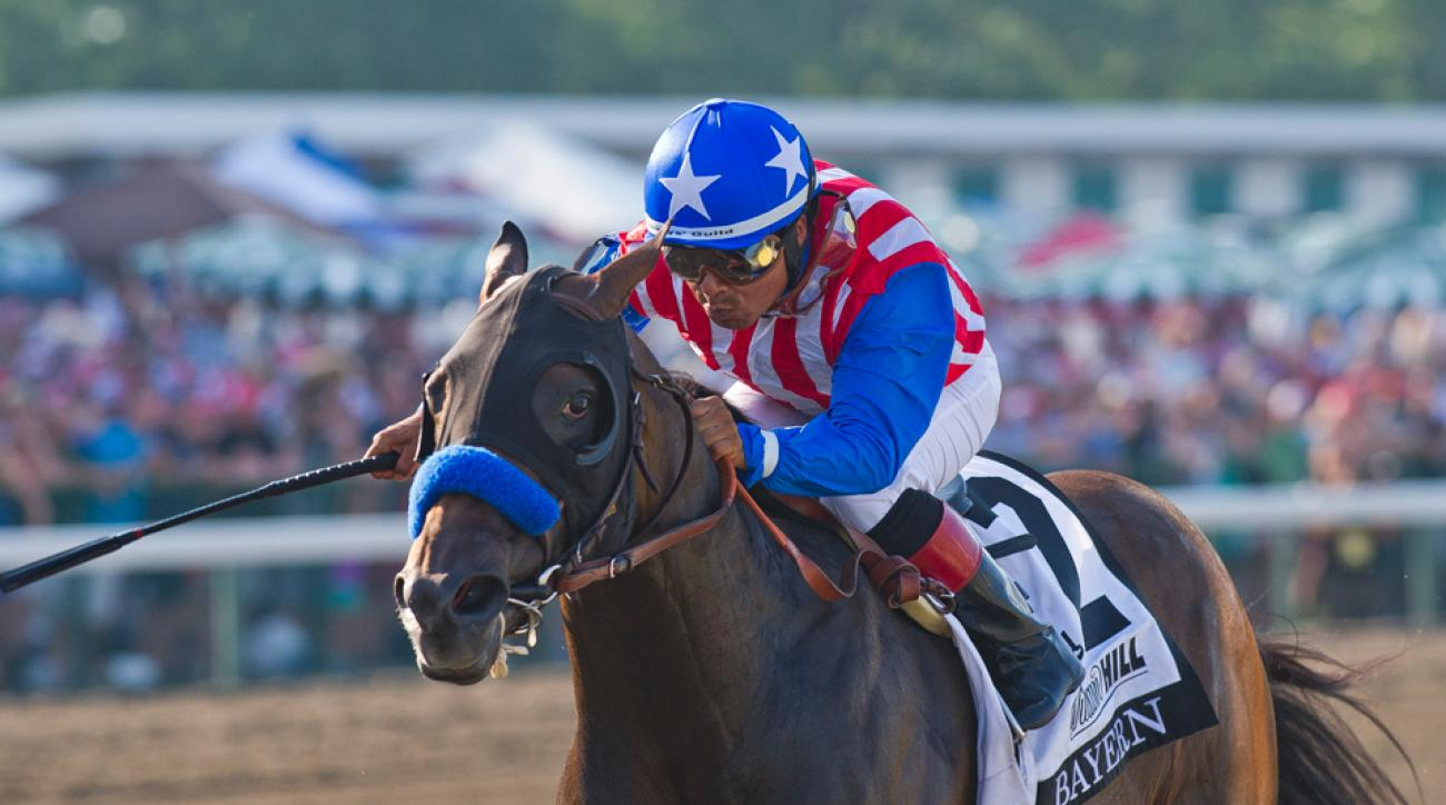 Bayern, with jockey Martin Garcia, outpaced the field in the Haskell Invitational and is gunning for a win in the Travers Stakes.