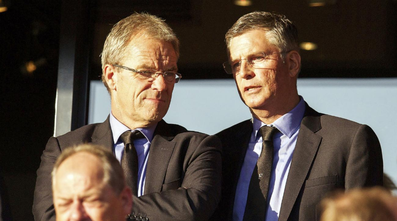 Feyenoord general director Eric Gudde and technical director Martin van Geel