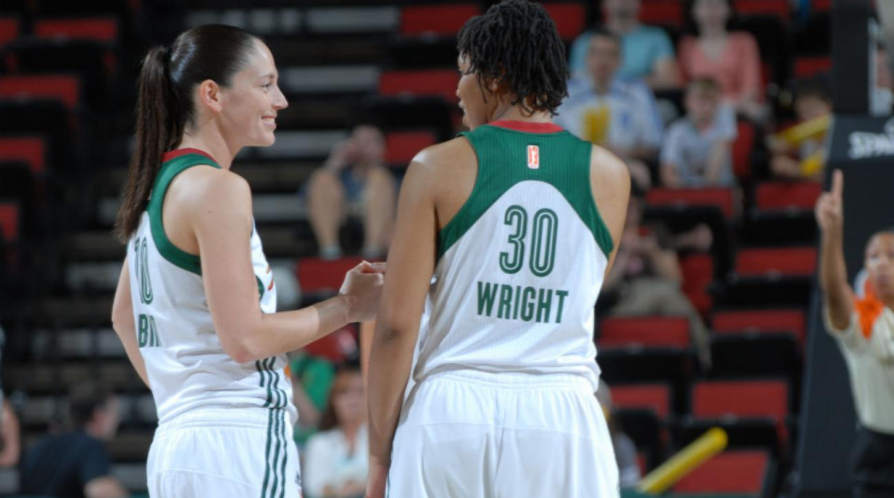 The Storm will get a No. 1 draft pick to play alongside Sue Bird (left) and Tanisha Wright.
