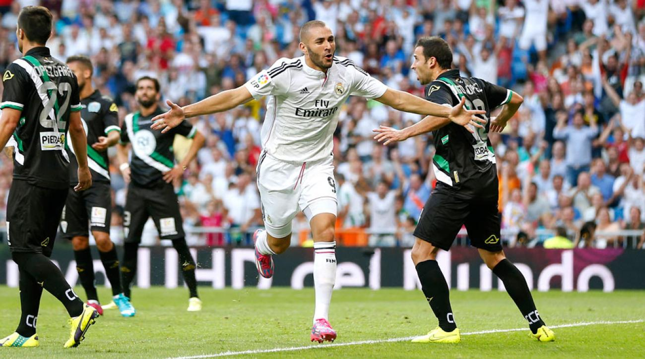 Karim Benzema scored Real Madrid's first goal on a header in a 2-0 win over newly-promoted side Cordoba on Monday.
