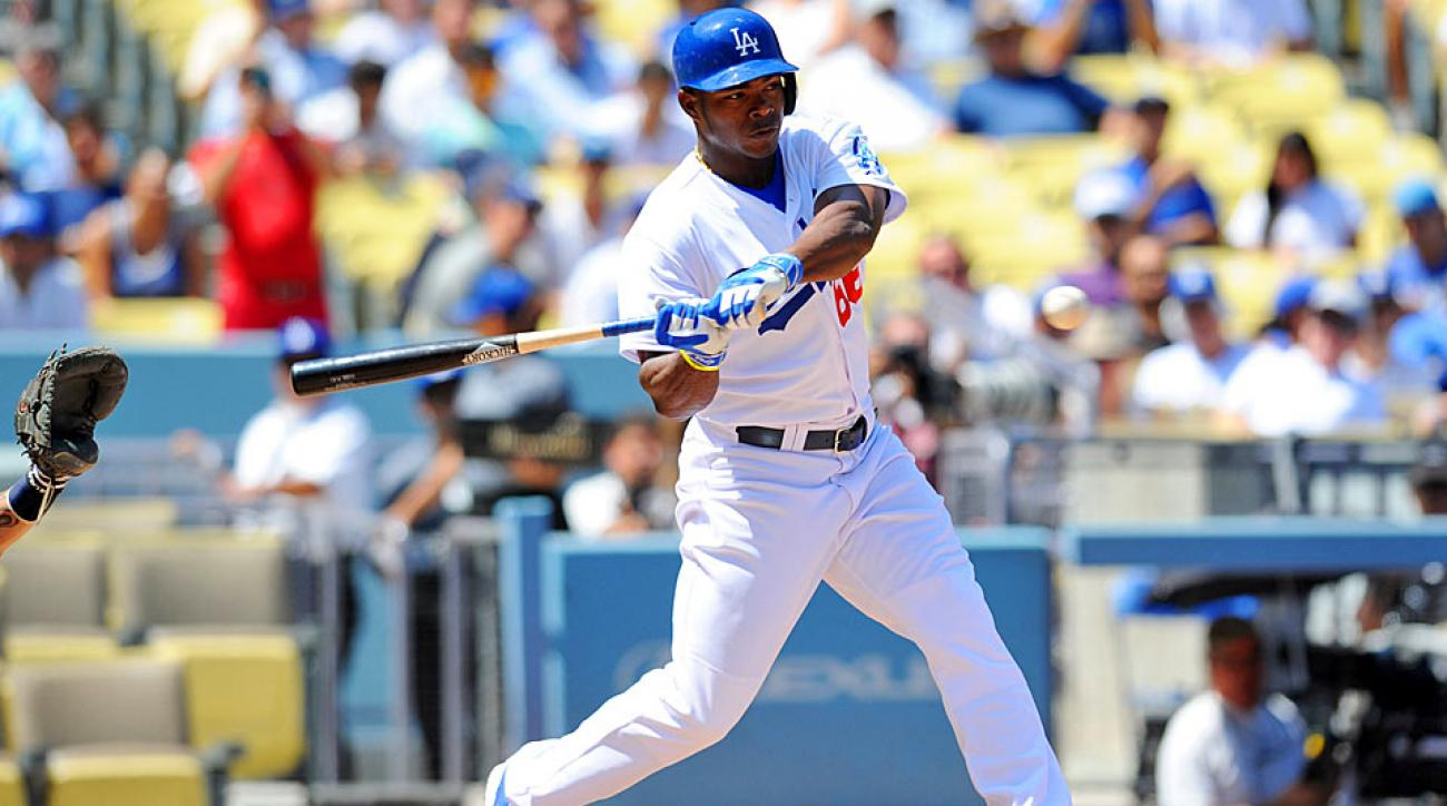 The Dodgers' Yasiel Puig is 0-for-7 with three strikeouts in bases-loaded opportunities this season.