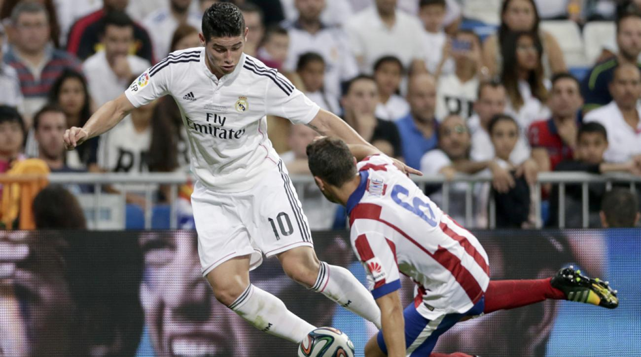 James Rodriguez, left, and Real Madrid face Atletico Madrid in a Champions League final rematch in La Liga on Saturday.