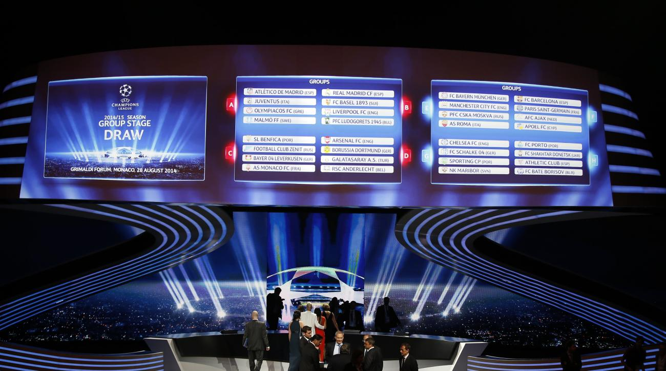 A board shows the draw for the 2014/2015 European Champions League group stages, on August 28, 2014 in Monaco.