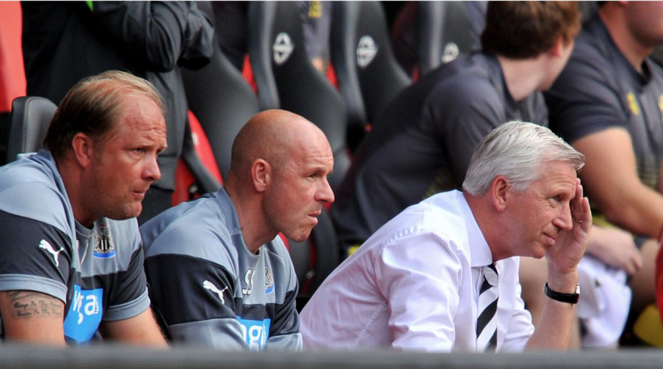 Newcastle manager Alan Pardew, right, has endured plenty of struggles since being awarded an eight-year contract.
