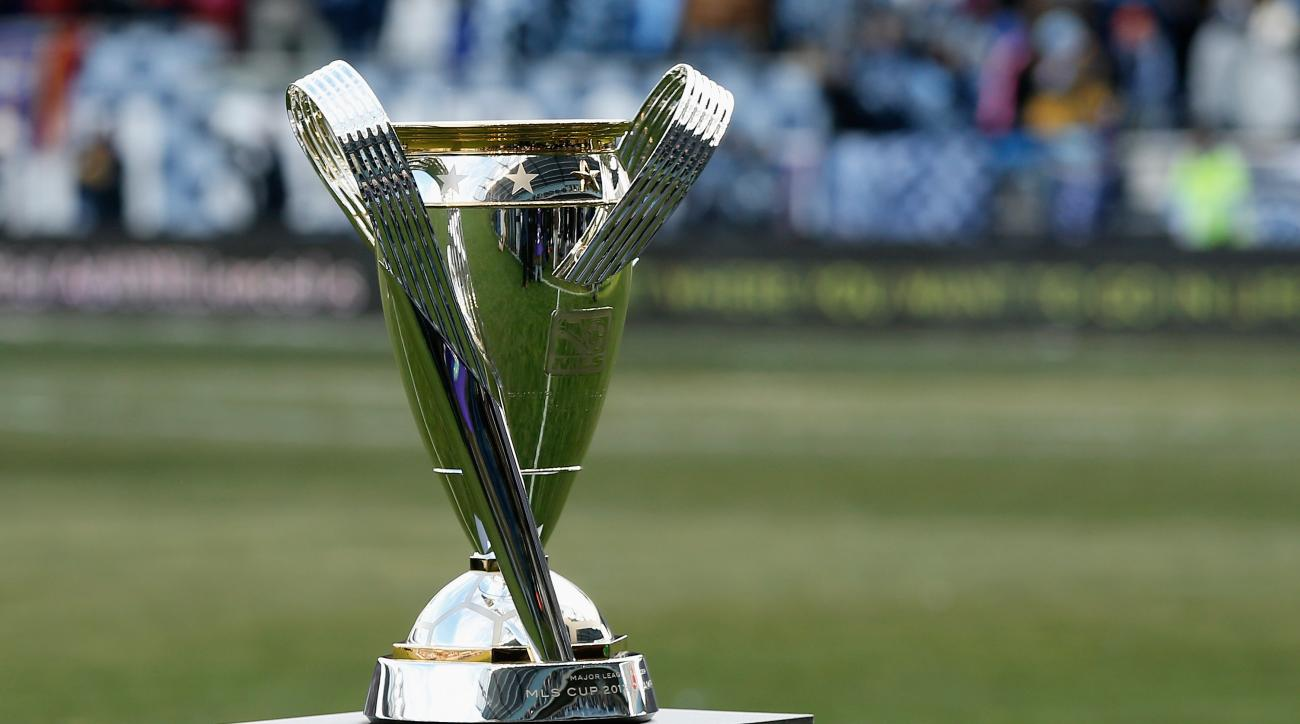 The Philip F. Anschutz trophy is seen on the field before the start of the match between Real Salt Lake and Sporting Kansas City in the 2013 MLS Cup at Sporting Park on December 7, 2013 in Kansas City, Kansas.