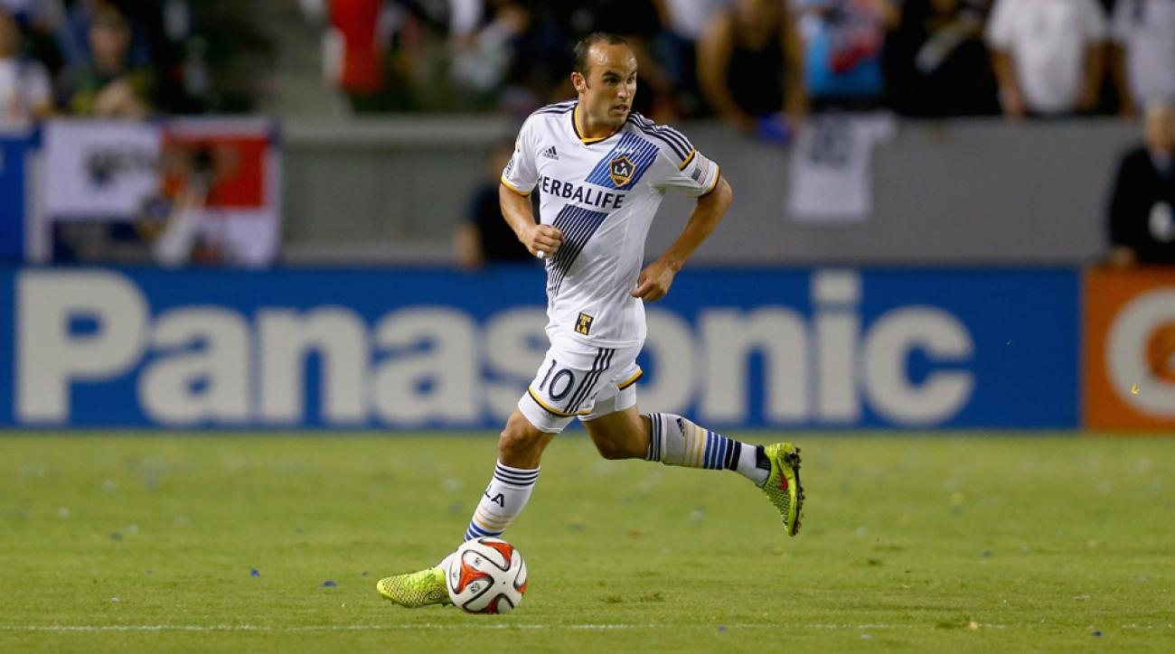 Landon Donovan might be retiring at season's end, but he remains on fire, notching a goal and three assists in the LA Galaxy's 4-0 win over the New York Red Bulls.
