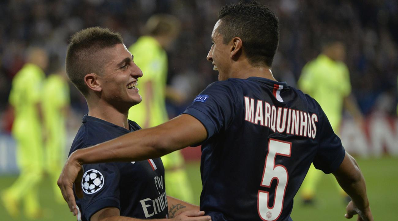 Paris St-Germain heroes Marco Verratti and Marquinhos celebrate during a 3-2 triumph over Barcelona in the Champions League group stage.