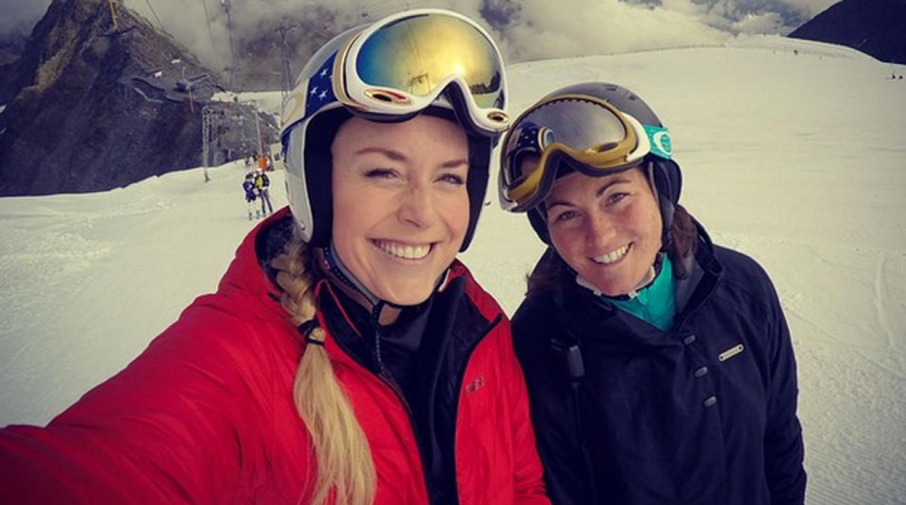Lindsey Vonn (left) is back on the slopes