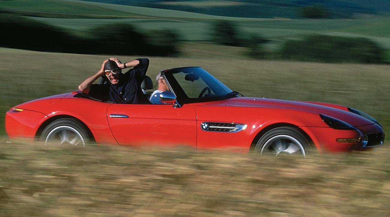 Steve Rushin with the outfit he bought and the car -- a BMW Z8 -- he borrowed while in Germany.