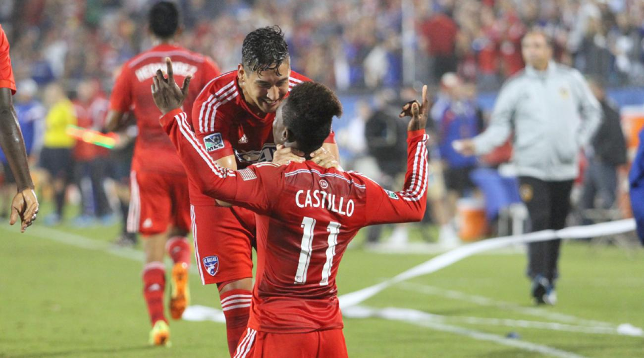 David Texeira and Fabian Castillo celebrate the latter's go-ahead goal in FC Dallas' 2-1 victory over the LA Galaxy Sunday night.