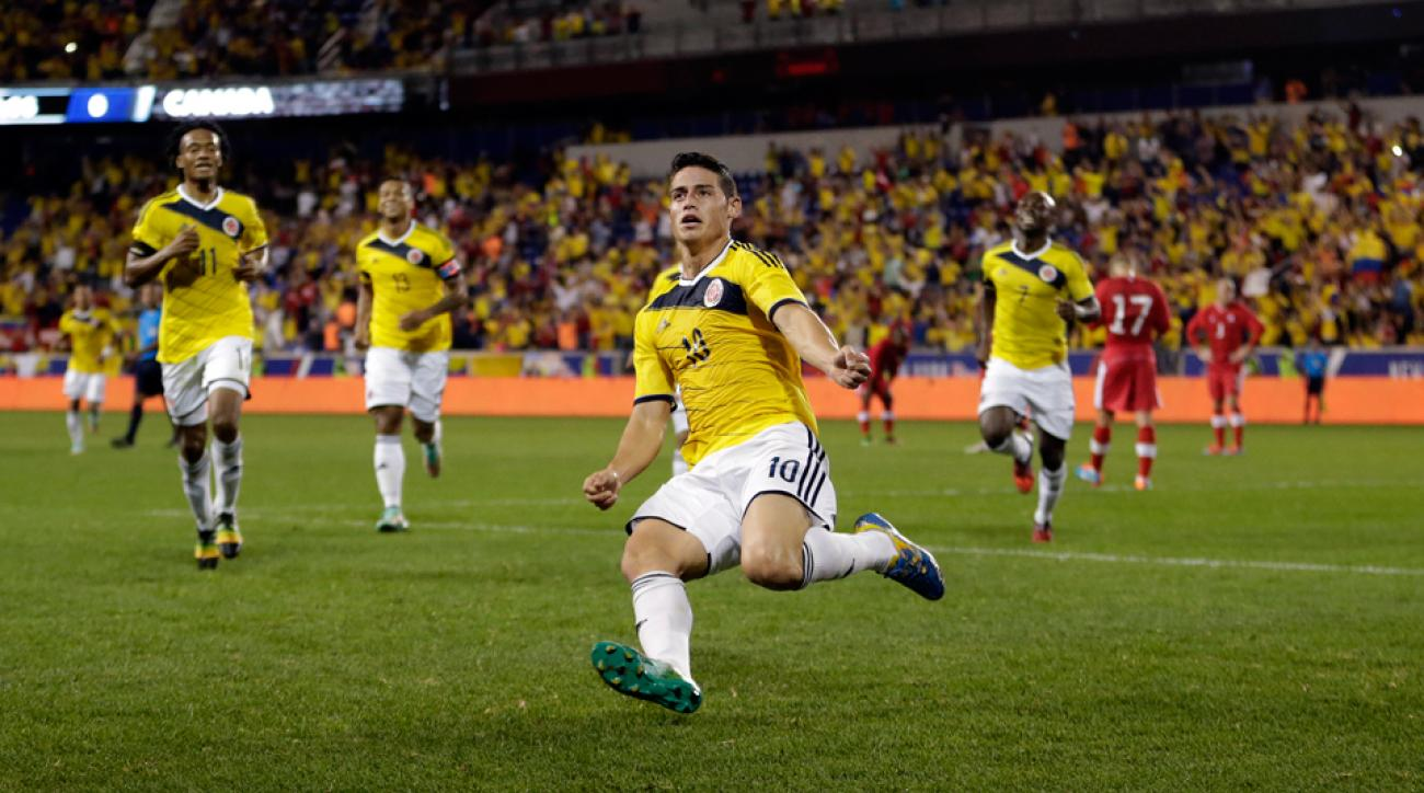 Colombia's James Rodriguez scored a wondrous goal against Canada and was then the subject of a pitch invader for the second time in three months.