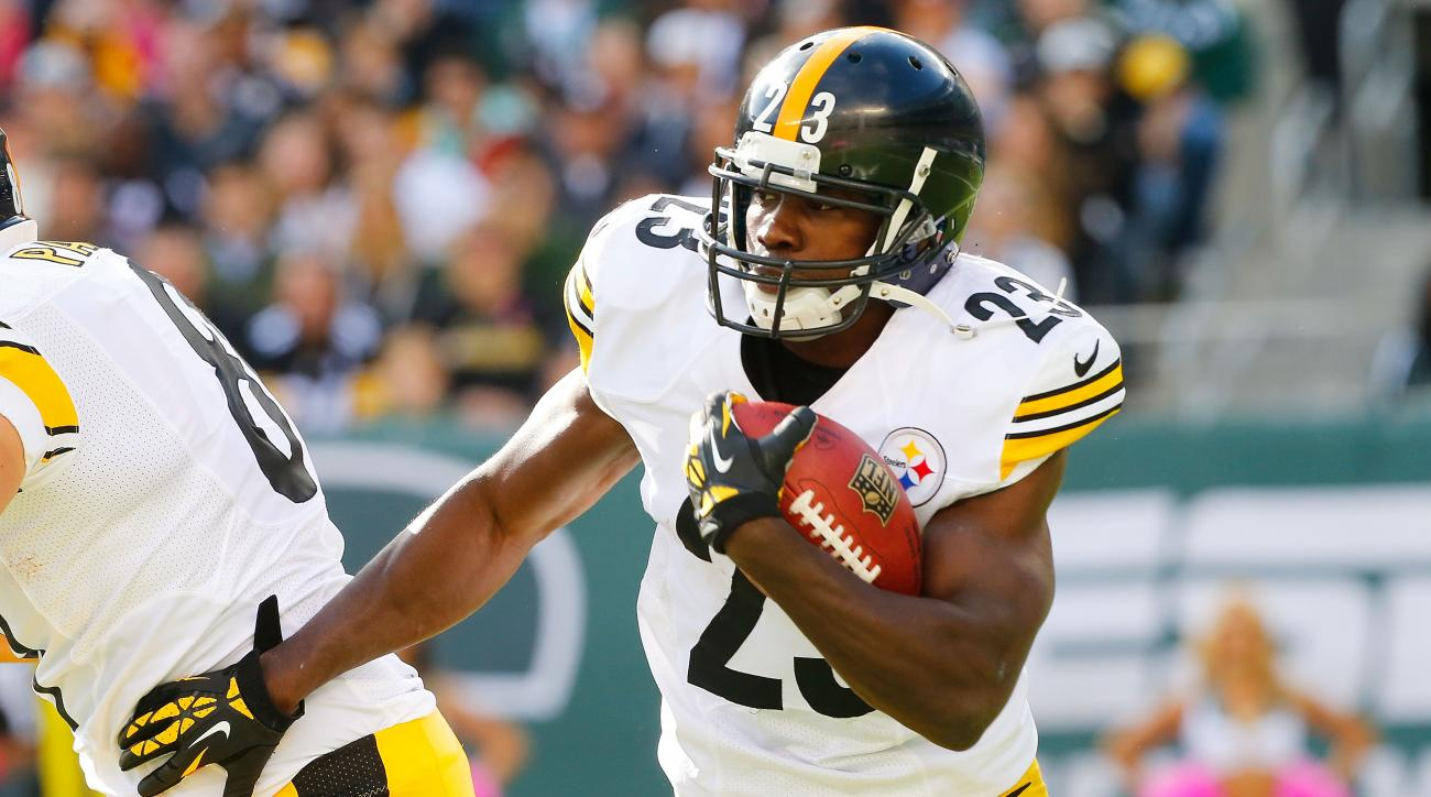 Felix Jones of the Pittsburgh Steelers in action against the New York Jets on October 13, 2013 at MetLife Stadium in East Rutherford, New Jersey.