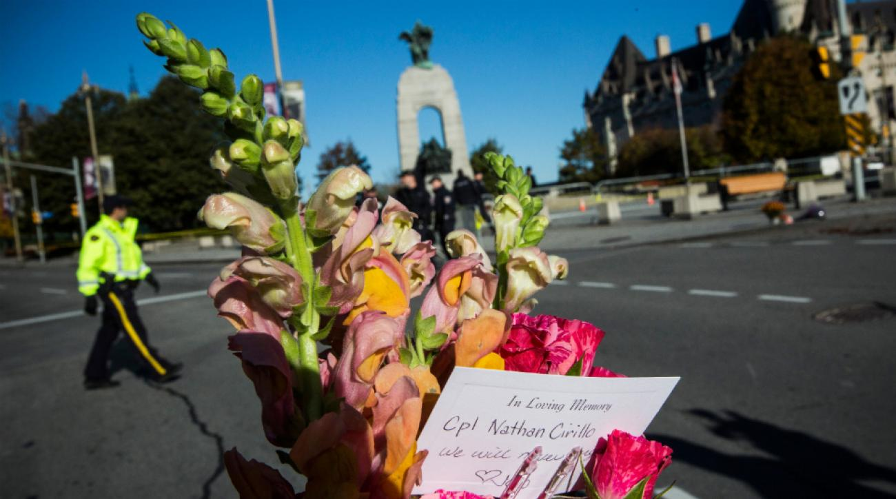 Flowers left in memorial for the Canadian soldier killed in Wednesday's shootings.
