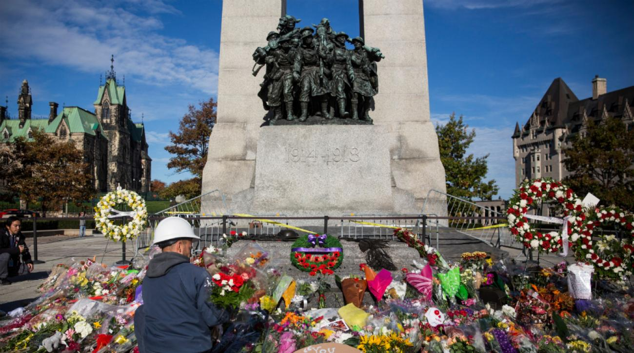 Flowers left at the National War Memorial, one of the sites of the Ottawa shootings.