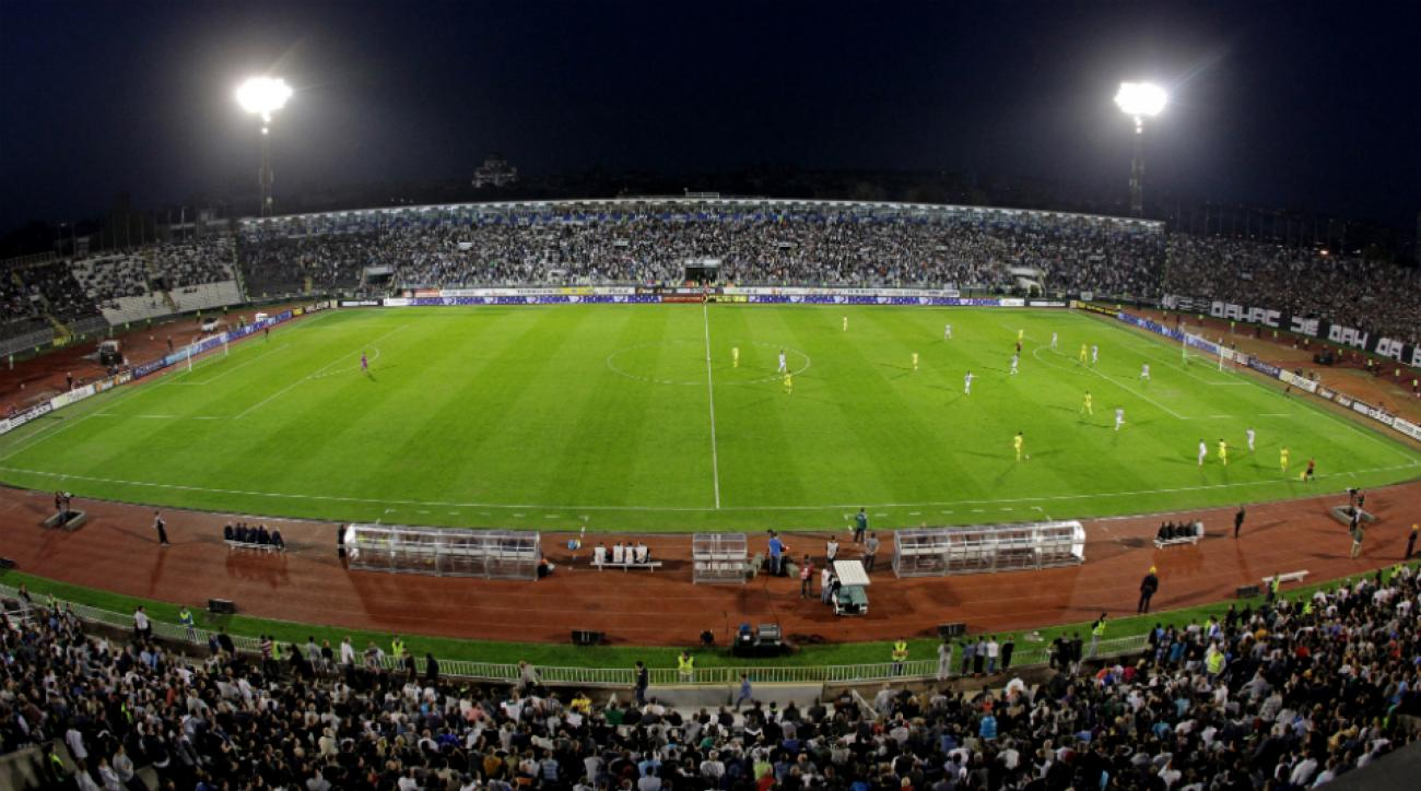 Partizan Stadium, near where the brawl took place.