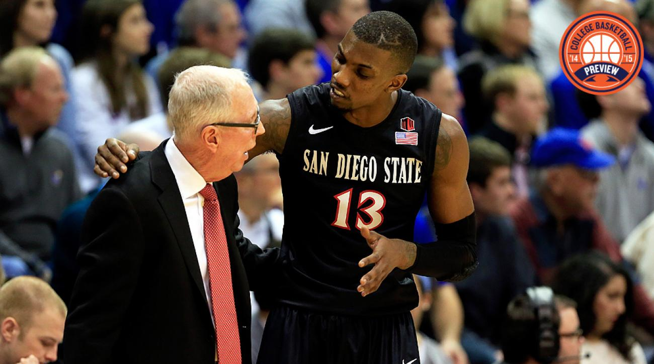 San Diego State head coach Steve Fisher (L) will lean on Winston Shepard to replace the offense, defense and leadership of Xavier Thames.