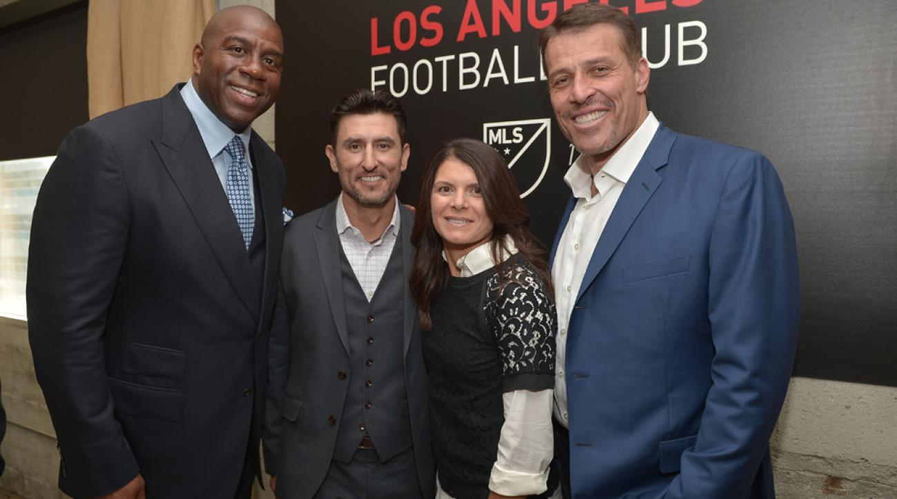 Mia Hamm, third from left with Magic Johnson, husband Nomar Garciaparra and Tony Robbins, is part of LAFC's ownership team.