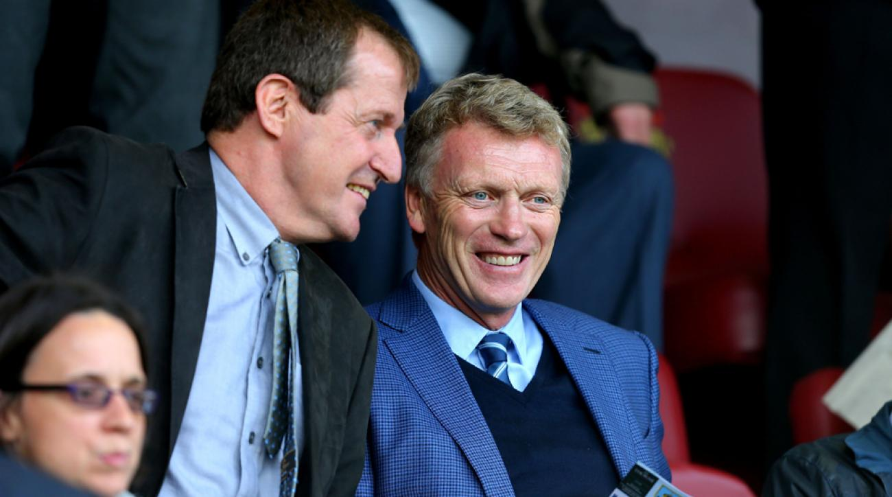 David Moyes is all smiles taking in Burnley's Premier League match vs. West Brom from the stands as he continues to plot his next coaching move.