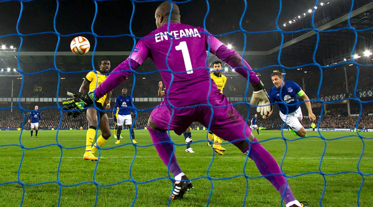 Everton's Philip Jagielka (right) scores the team's second goal during its Europa League Group H 3-0 win against Lille.