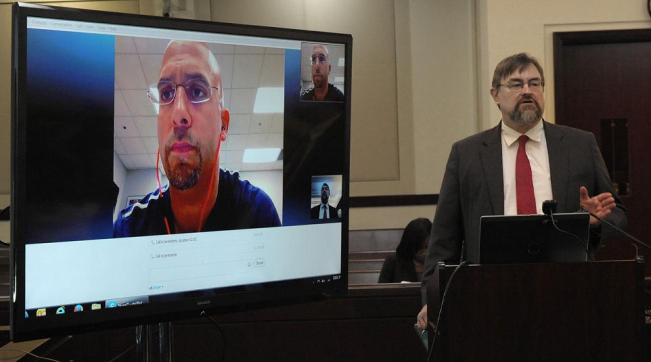 James Franklin (left) testifies to John Herbison (right), an attorney of former Vanderbilt player Brandon Vandenburg