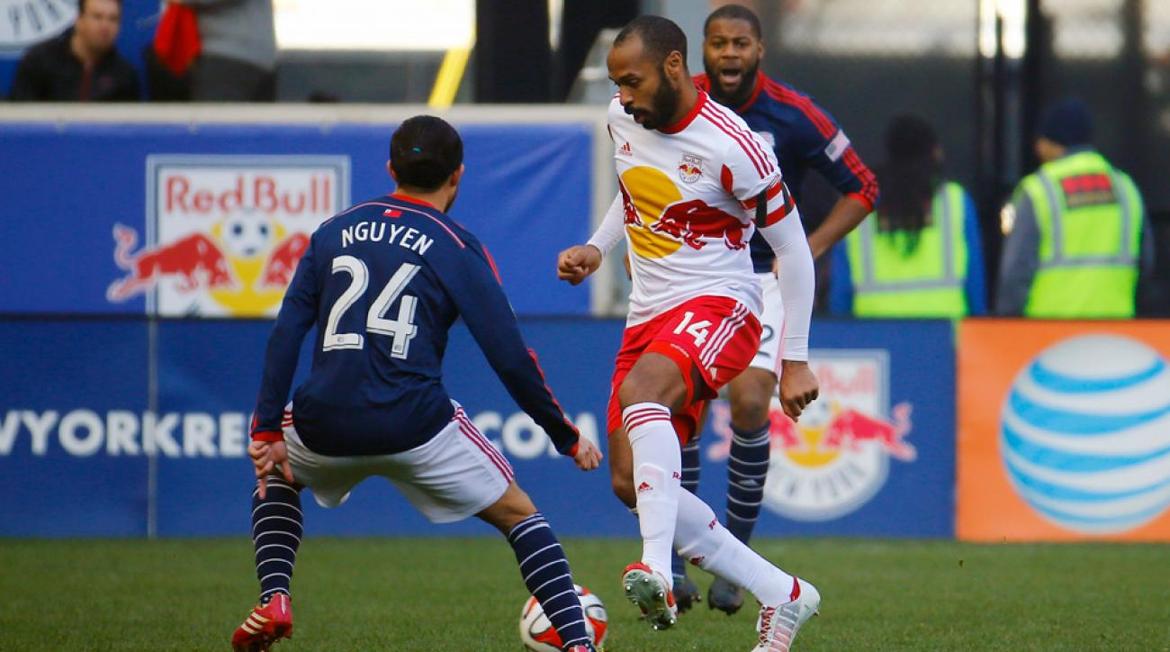 Thierry Henry (14) and the Red Bulls must be at their best if they are to overcome a deficit to the Revolution in the Eastern Conference finals.