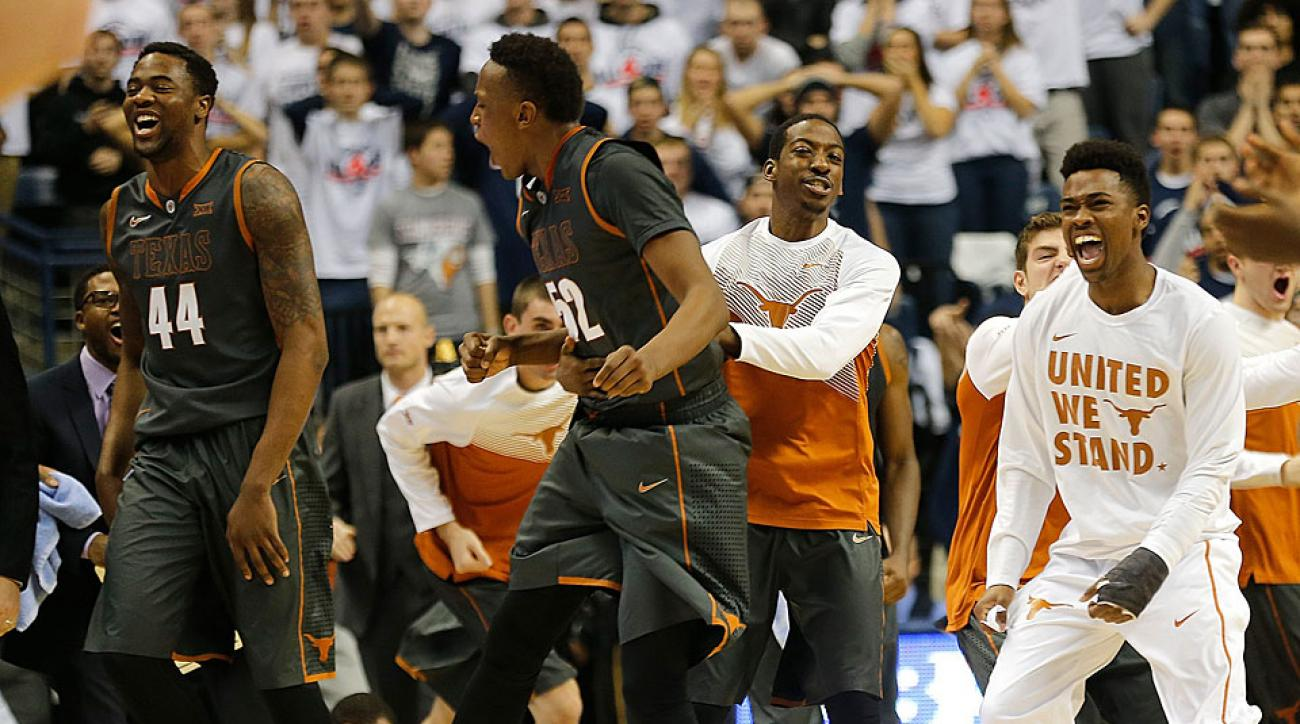 The Longhorns celebrated after beating the defending national champion Huskies to remain unbeaten.