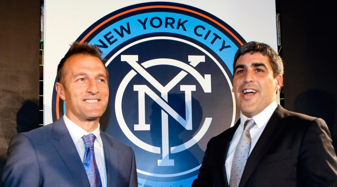 NYCFC manager Jason Kreis, left, and sporting director Claudio Reyna added a number of players through the MLS expansion draft on Wednesday.