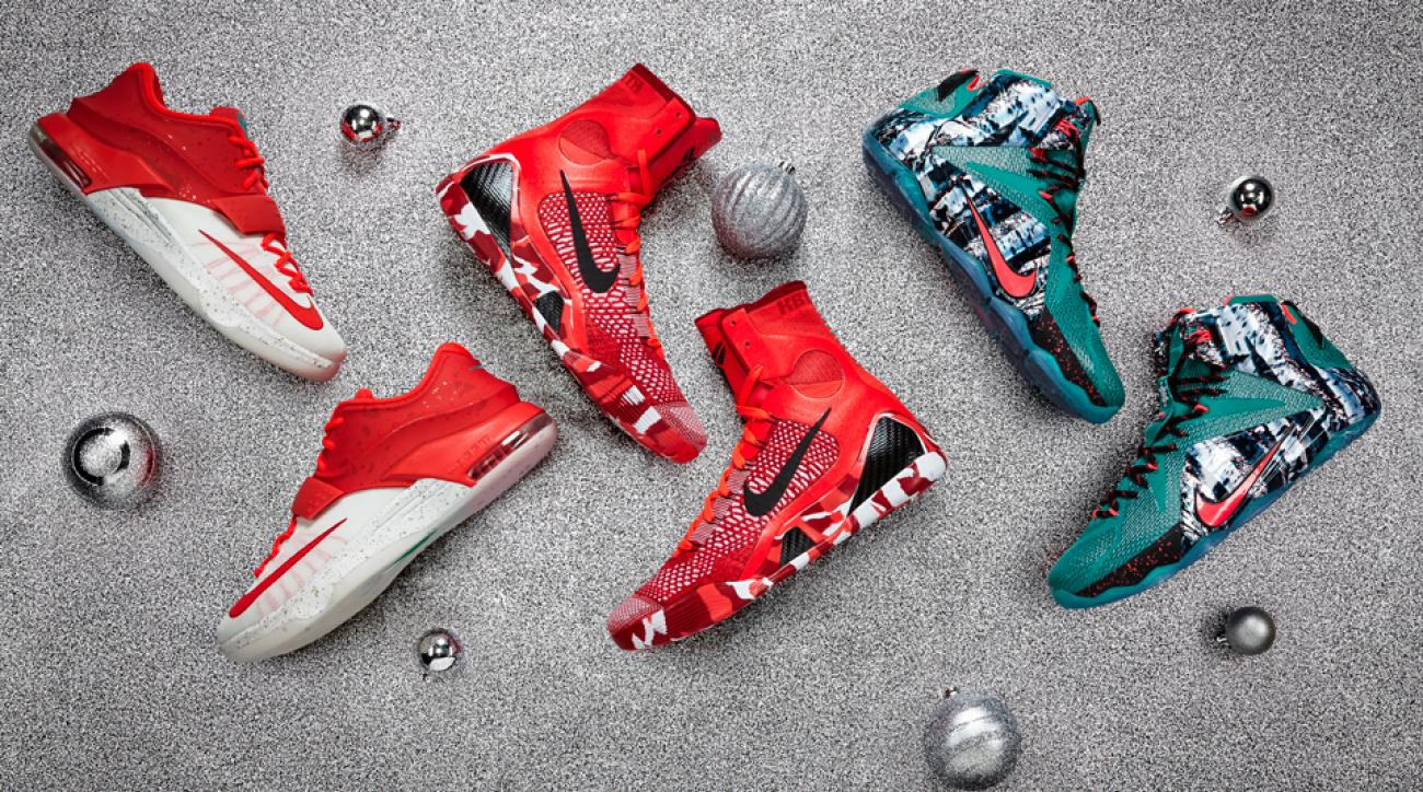 Nike's 2014 Christmas Day designs for, from left, Kevin Durant, Kobe Bryant and LeBron James.