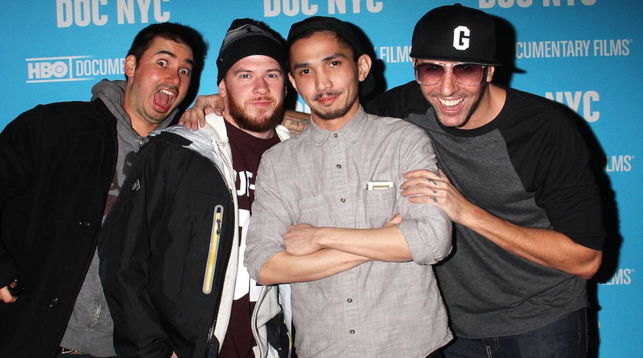 Matt Siren, Marty, Nevin Caulfield and Vanchiro (left to right) attend 'Banksy Does New York' Screening at SVA Theater on Nov. 14, 2014 in New York City.