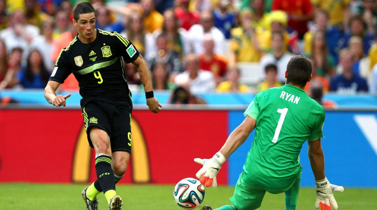 Fernando Torres scores the Spain's second goal during the 2014 FIFA World Cup Brazil Group B match between Australia and Spain