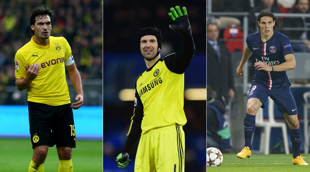 From left, Mats Hummels, Petr Cech and Edinson Cavani have their names prevalent in the transfer rumor mill ahead of the January window.